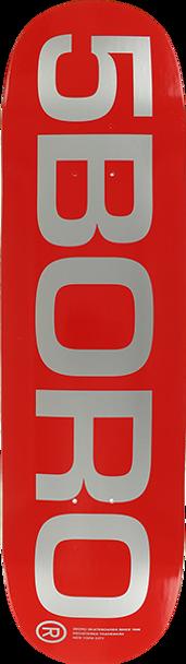 5BORO EXT LOGO SKATE DECK-8.25 RED/SILVER w/MOB Grip