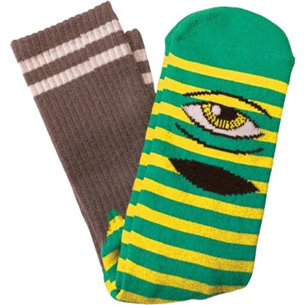 Toy Machine Sect Eye Stripe Crew Socks Green Yellow OneSize