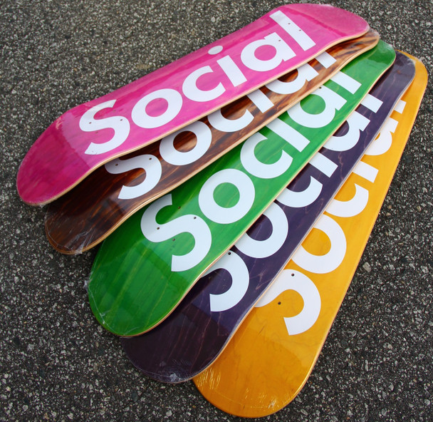 Social Block Logo Skate Deck Assorted Stains White 8.5 w/ MOB Grip