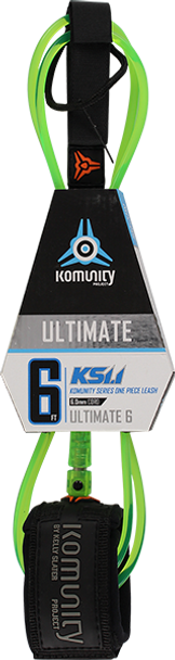 KOMUNITY 6' STANDARD ULTIMATE LEASH 6mm CL.LIME/BLK