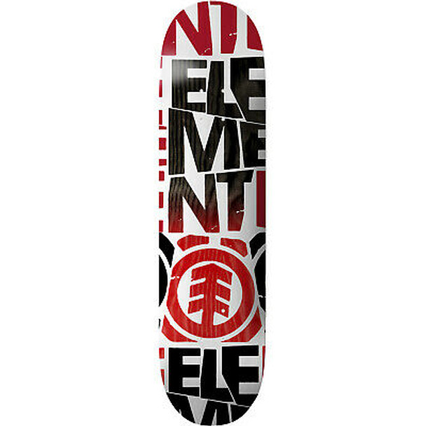 Element Blockers Skate Skate Deck White Red Black 7.5 w/ MOB Grip