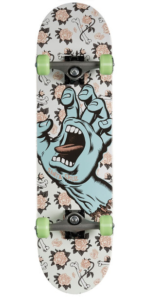Santa Cruz Floral Decay Hand Skateboard Complete White Full 8