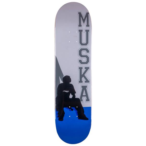 Shortys Muska Silhouette Skate Deck White Blue 8.12