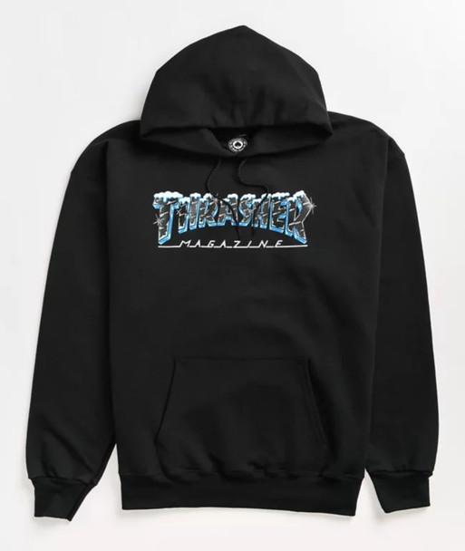 Thrasher Black Ice Logo Hoodie Black