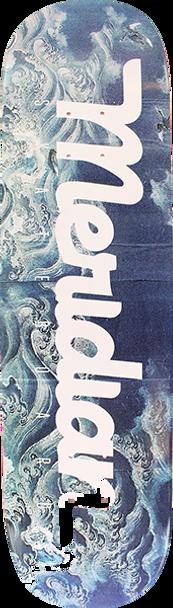 MERIDIAN UNKNOWN SEA SCRIPT SKATE DECK-8.0 CYAN