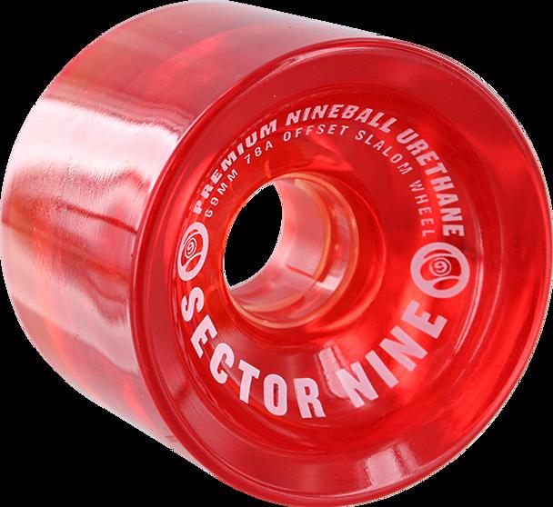 SECTOR 9 NINEBALLS 69mm 78a SLALOM RED WHEELS SET