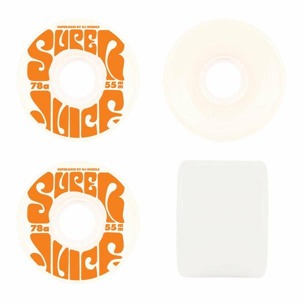 OJ Mini Super Juice Wheels Set White 55mm 78a