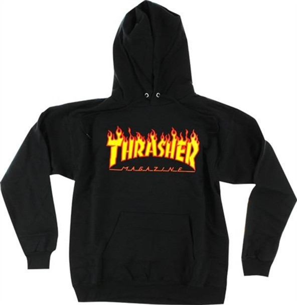 92a0f48969a1 Thrasher Flame Hoody Black Orange Medium