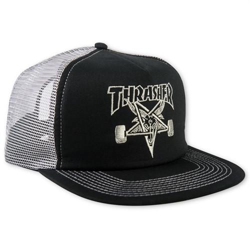 Thrasher Skate Goat Trucker Mesh Hat Black Silver Snapback 7e94273df57