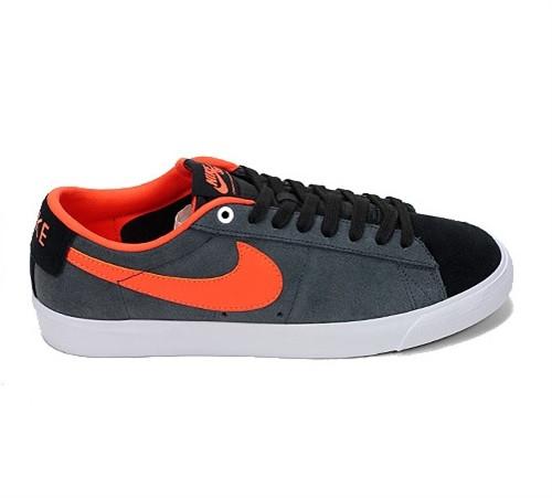 best service 74c12 fa21d Nike SB Blazer Low Grant Taylor Skate Shoes Black Turf Orange