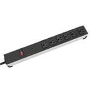 "Hammond Manufacturing 1584H6B1SRA Power Outlet Strips OutletStrip 6out 15'Cord 17"" Surge RA"