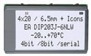 ELECTRONIC ASSEMBLY EA DIP203J-6NLW LCD Character Display Modules & Accessories FSTN Black/White White LED Backlight