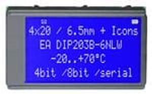 ELECTRONIC ASSEMBLY EA DIP203B-6NLW LCD Character Display Modules & Accessories Blue/White Contrast White LED Backlight