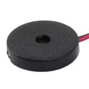 CUI Devices CPE-163 Piezo Buzzers & Audio Indicators buzzer, 13 mm round, 2.5 mm deep, P, 4.8 kHz, 30 V, wire leads, no driving circuit