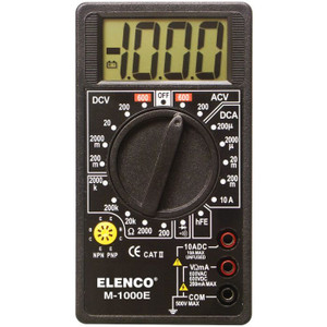 Elenco M1000E Compact Digital Multimeter 7 Functions / 17 ranges, 1MΩ input impedance