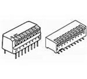 TE Connectivity / Alcoswitch 2-435802-0 DIP Switches / SIP Switches RIGHT ANGLE DIP SW 10 P SEALED