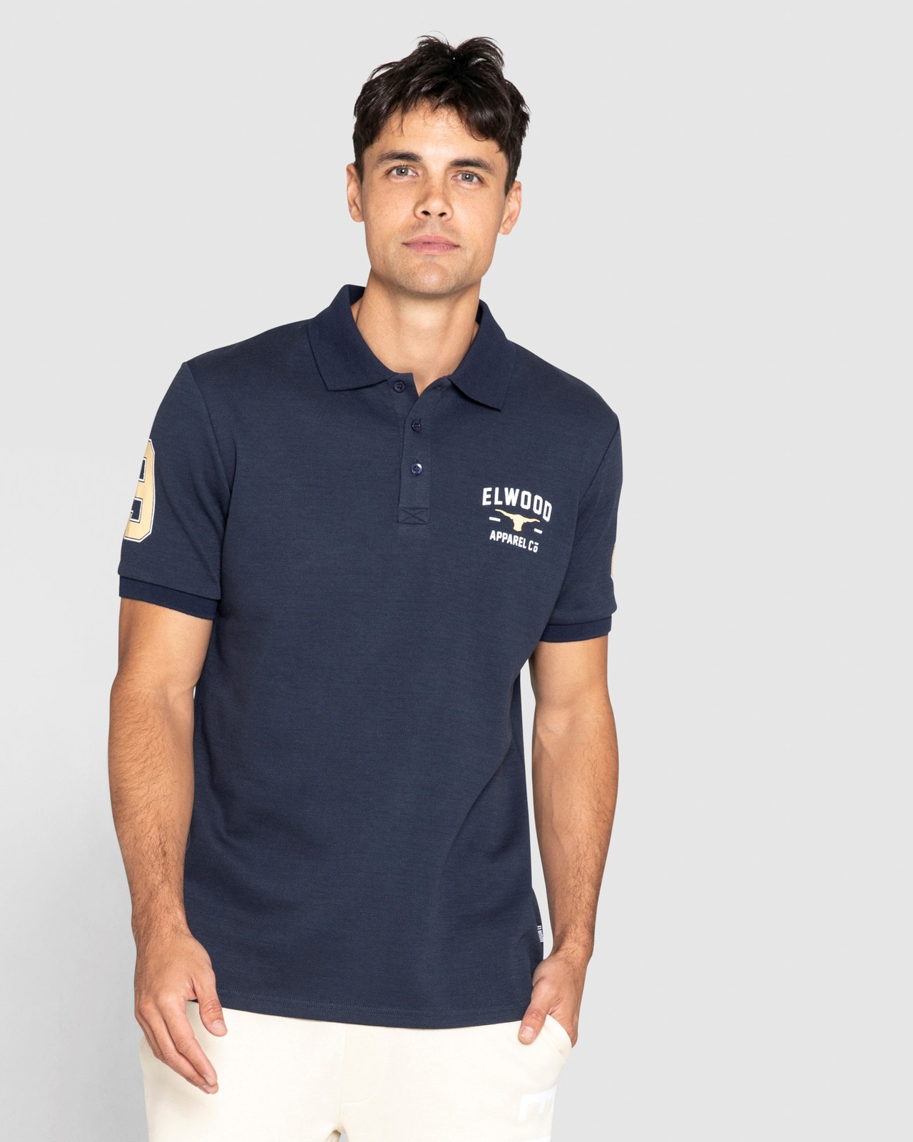 Elwood Mens Heritage Polo Red Logo Navy