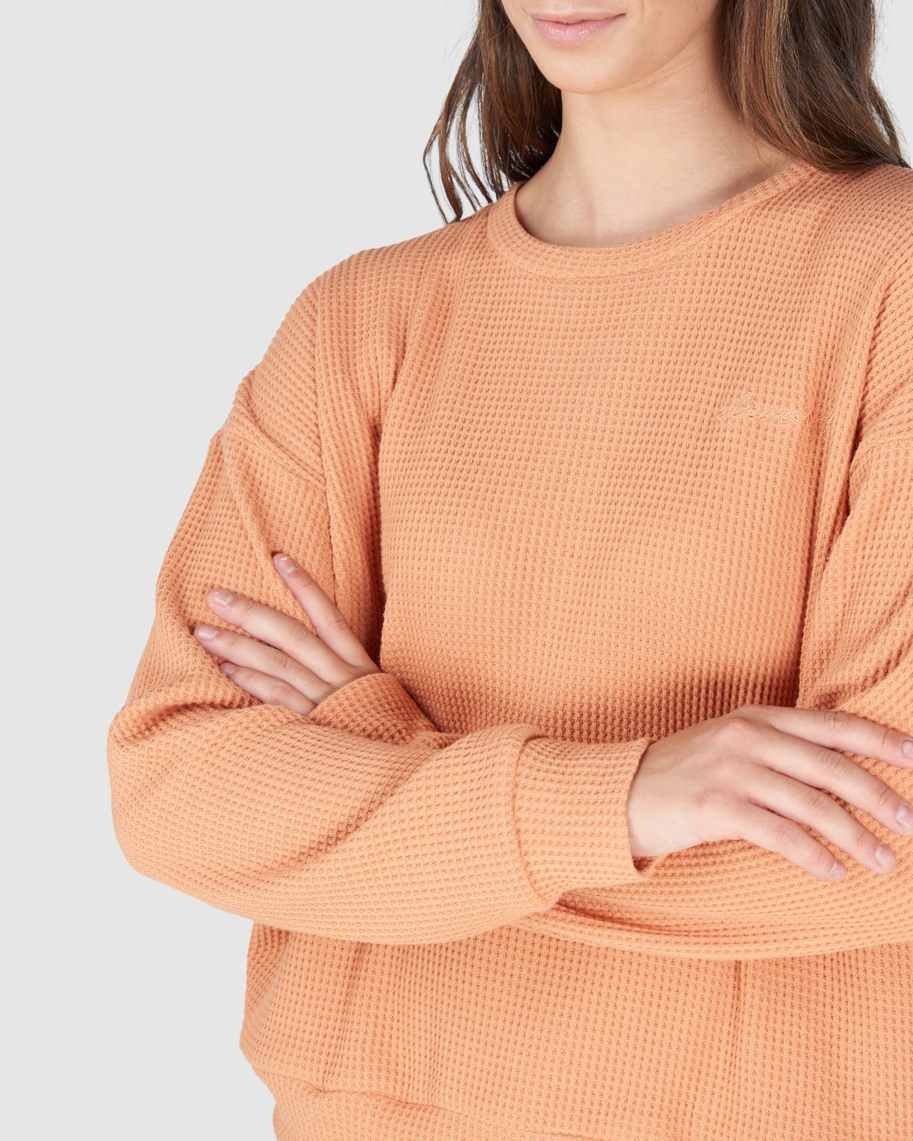Elwood Womens WILLOW WAFFLE CREW Orange