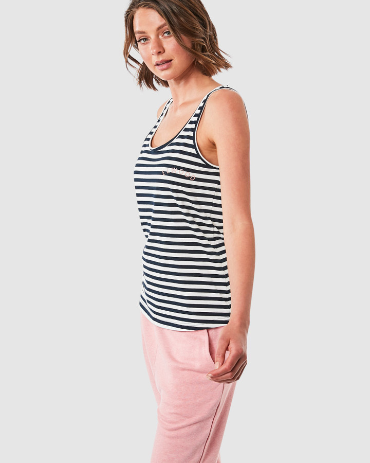Elwood Cally Singlet Navy/White Stripe