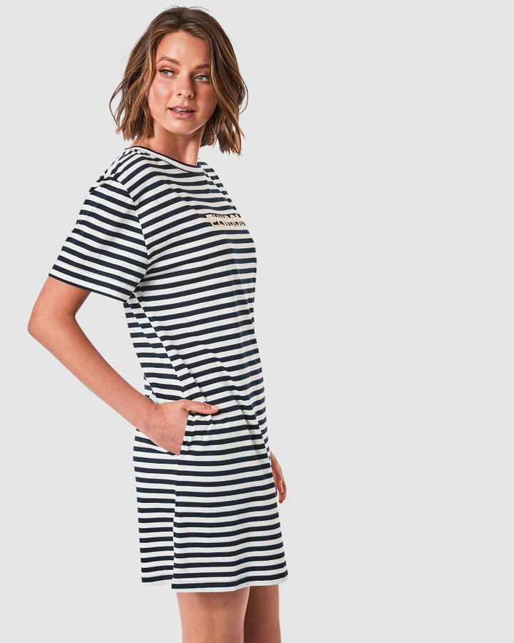 Elwood Ally Dress Navy/White Stripe