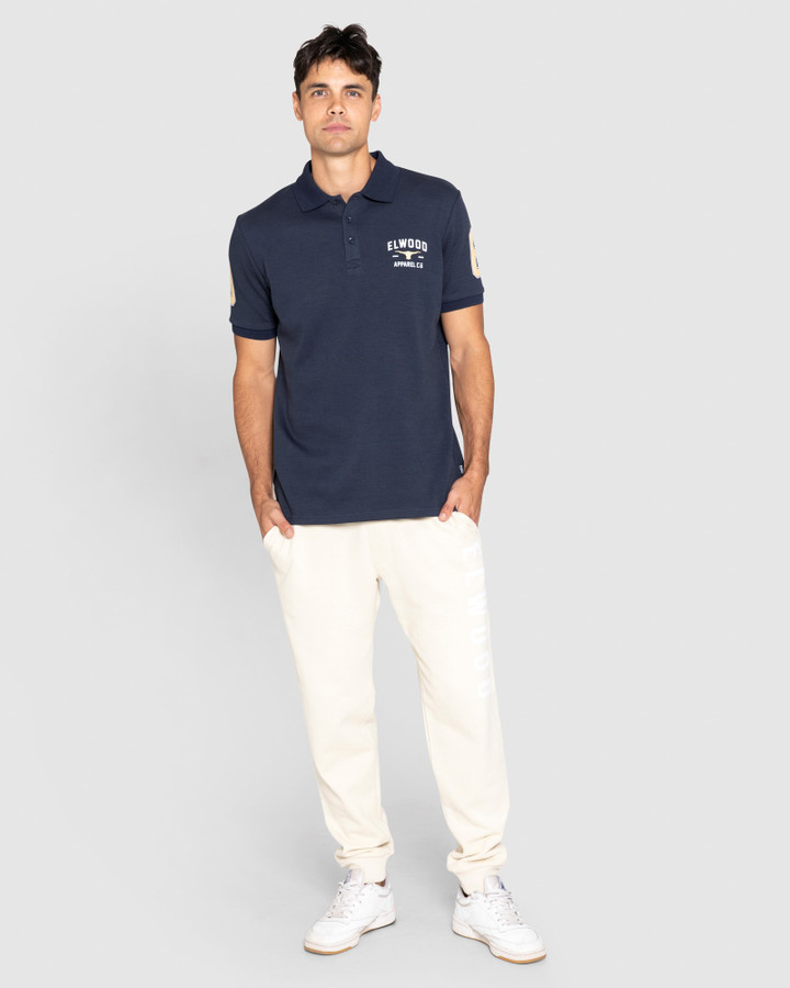 Elwood Heritage Polo Red Logo Dark Navy