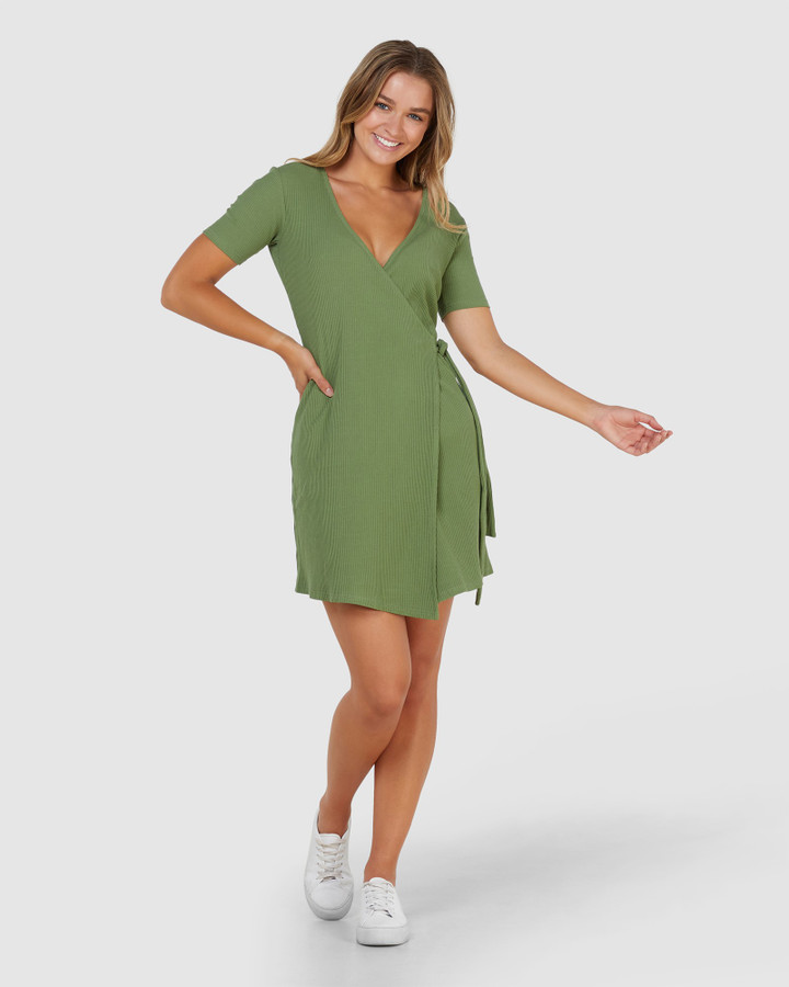 Elwood Amelia Wrap Dress Khaki