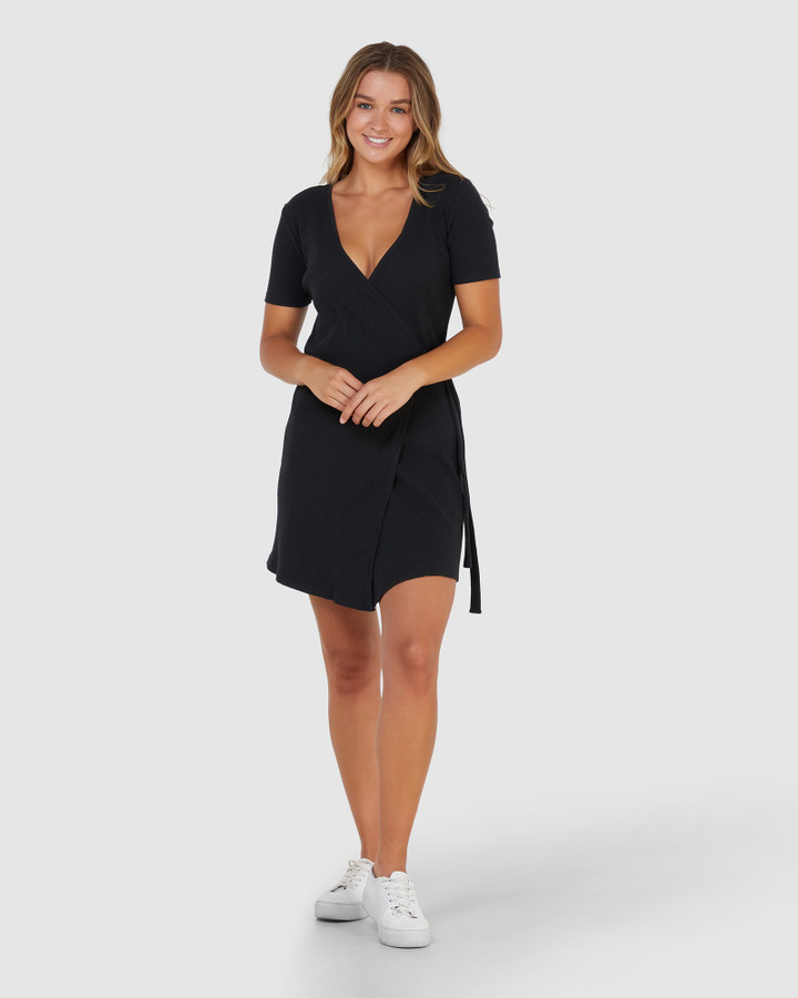 Elwood Amelia Wrap Dress Black