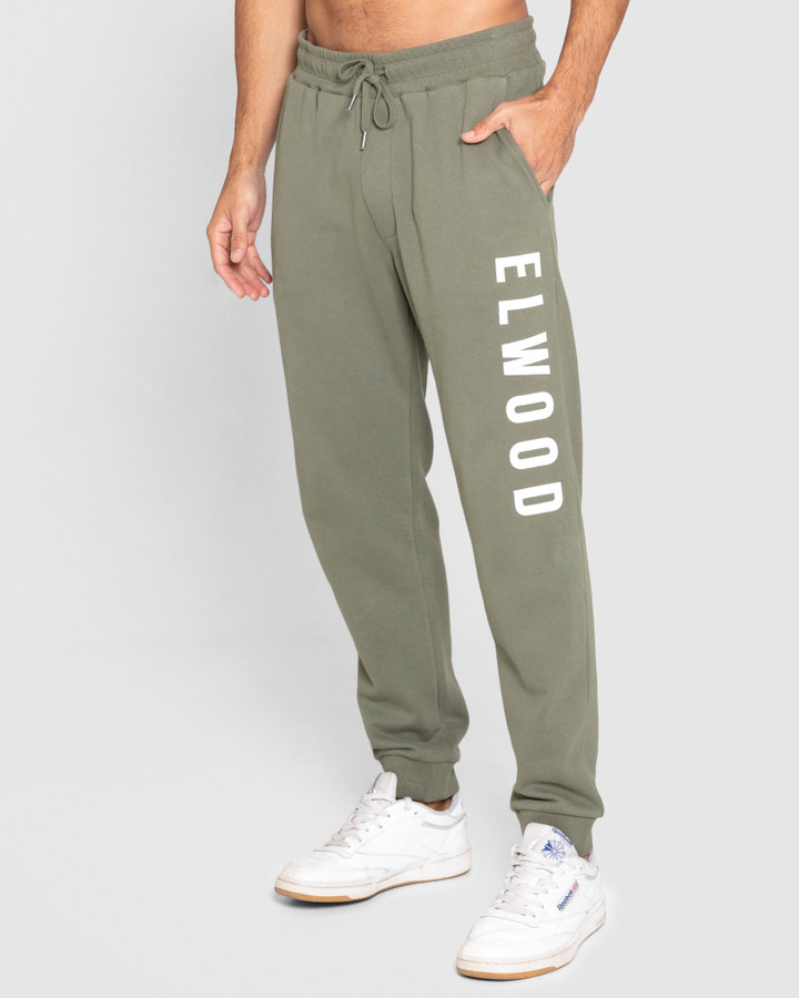 Elwood Mens Huff N Puff Track Pants Army Green