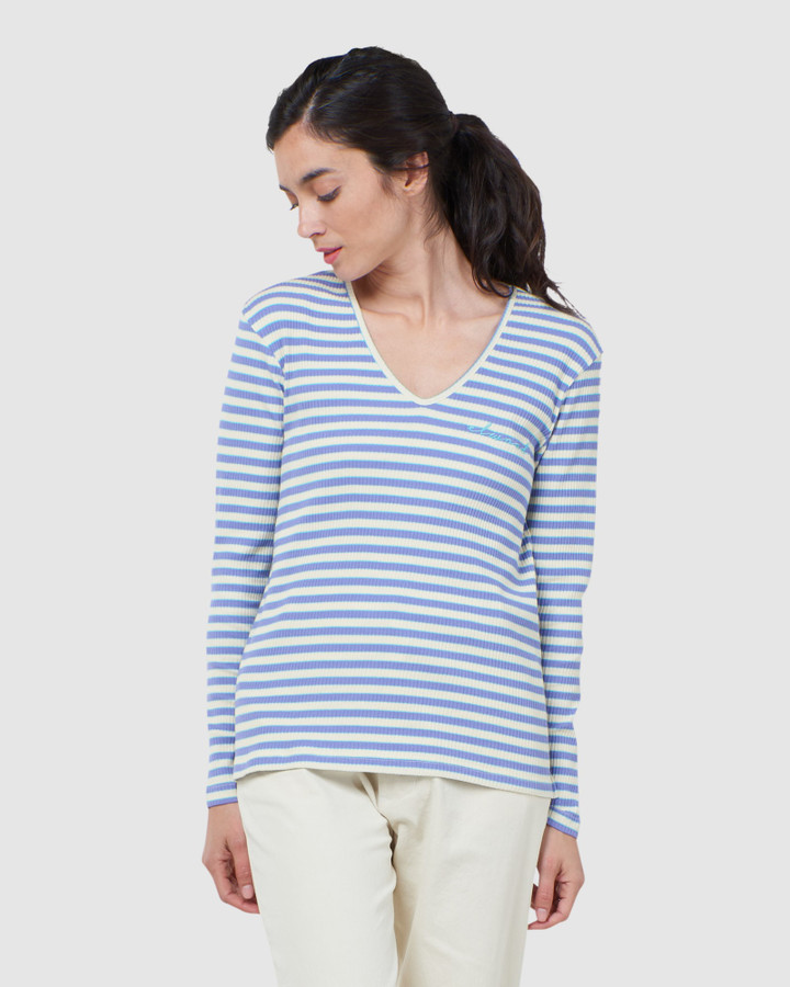 Elwood Priya Ls Tee Blue Yellow Stripe