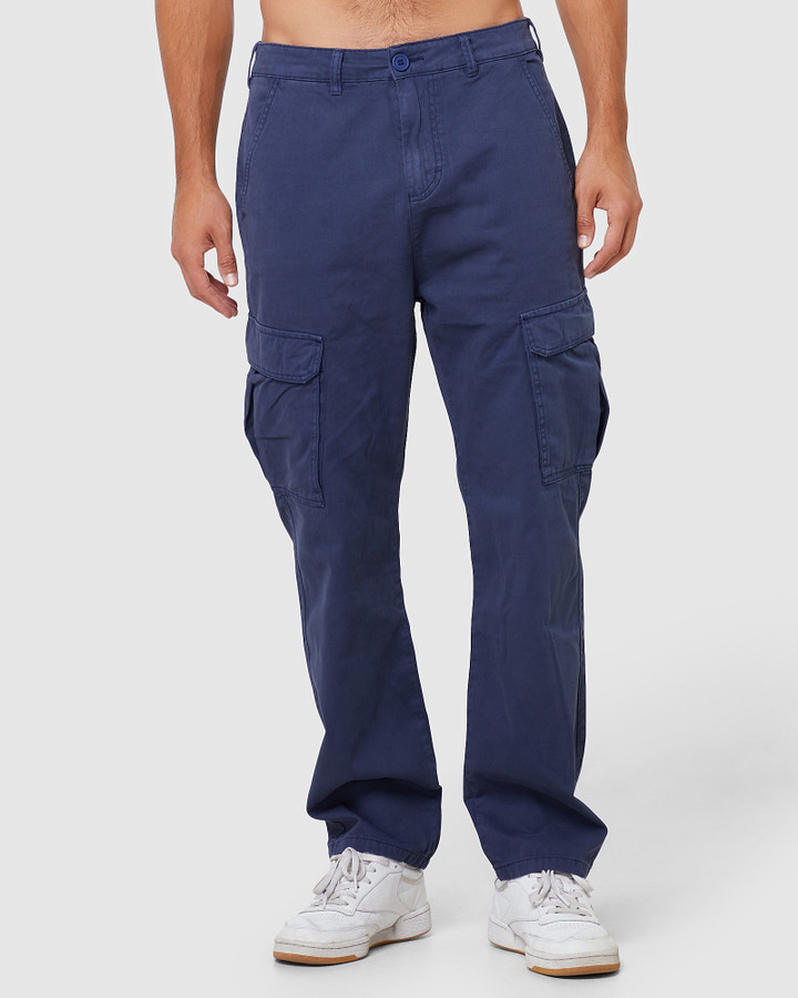 Elwood Andy Cargo Pants Washed Navy