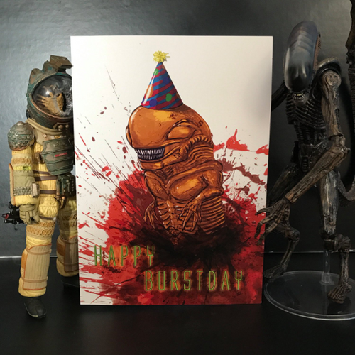 Alien Burstday Greeting Card
