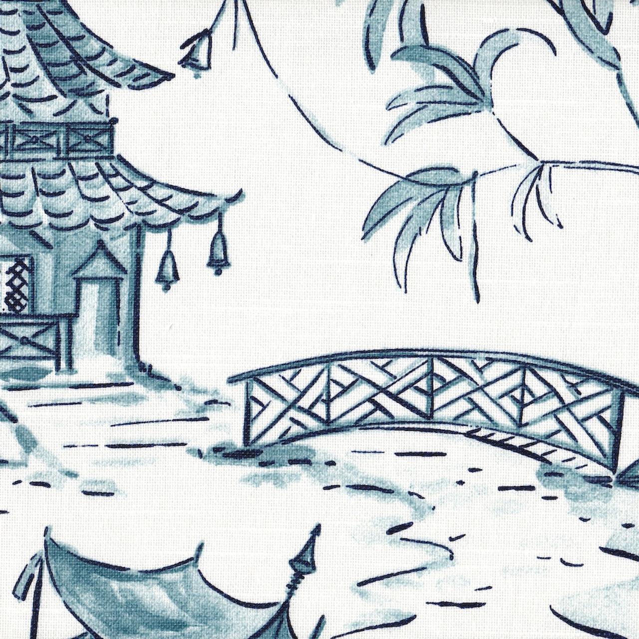 Pagodas Seaside Blue Oriental Toile Shower Curtain