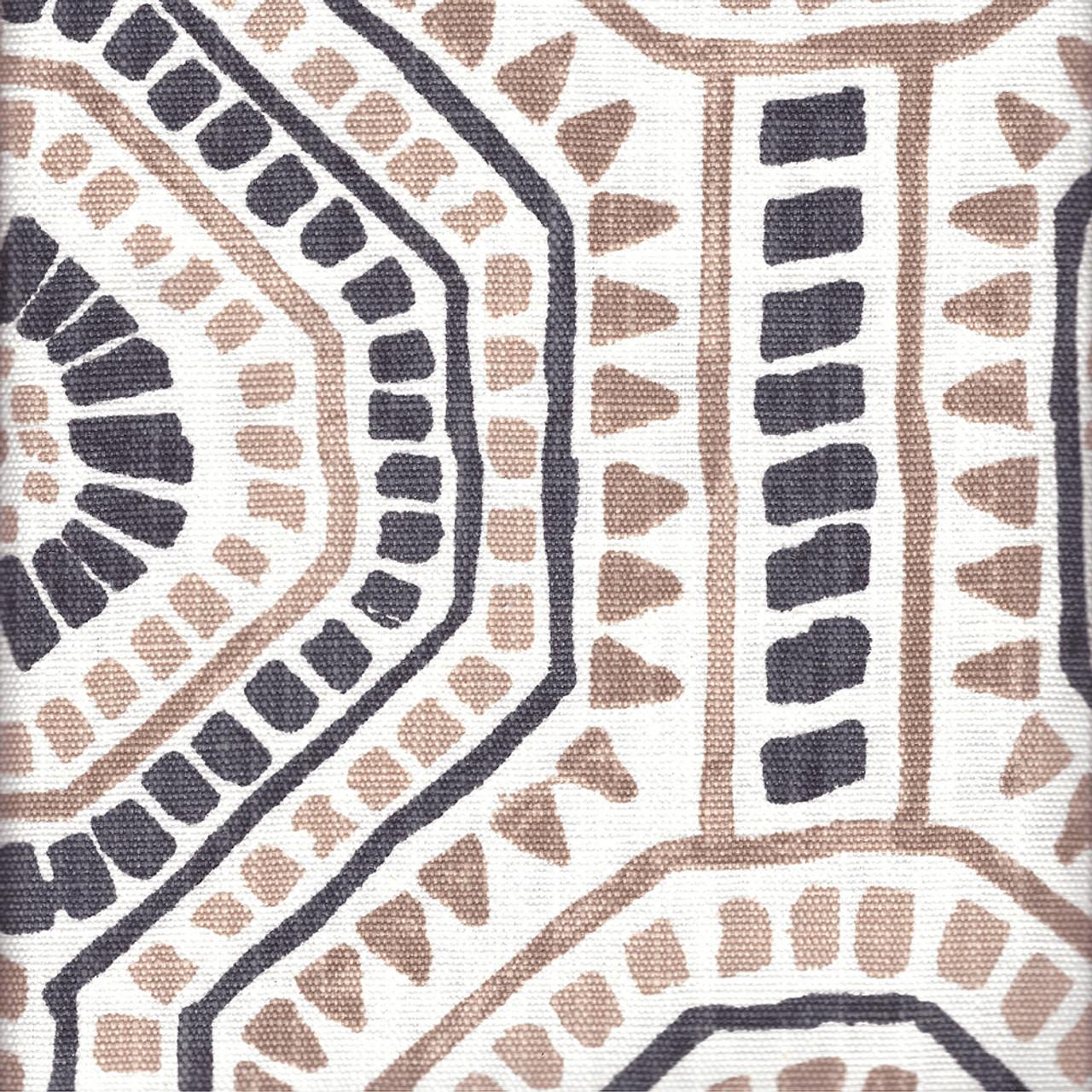 Bricktown Spice Geometric Dusty Rose Slub Linen Shower Curtain