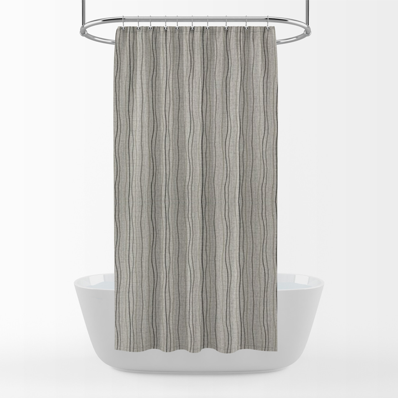 Shower Curtain In Current Graphite Gray Stripe