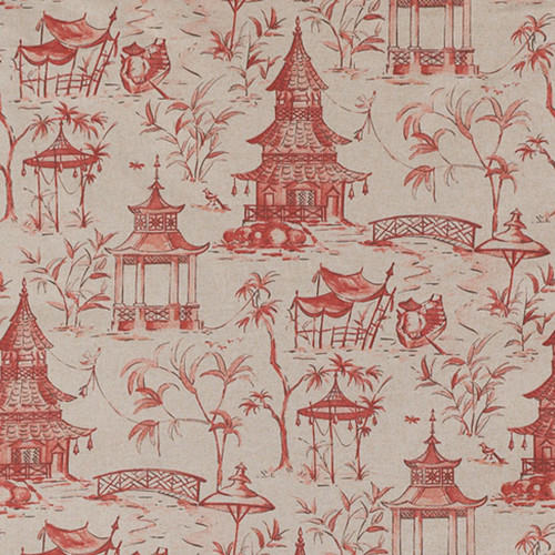 Gathered Bedskirt In Pagodas Coral Oriental Toile Close