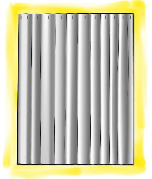Rod-Pocket Curtain Panels Sapo Waterbury Geometric Spa Green Slub Cotton