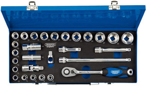 Draper 16473 1/2-Inch Square Drive Metric Micro Satin Chrome 28 Piece Socket Set in Metal Case