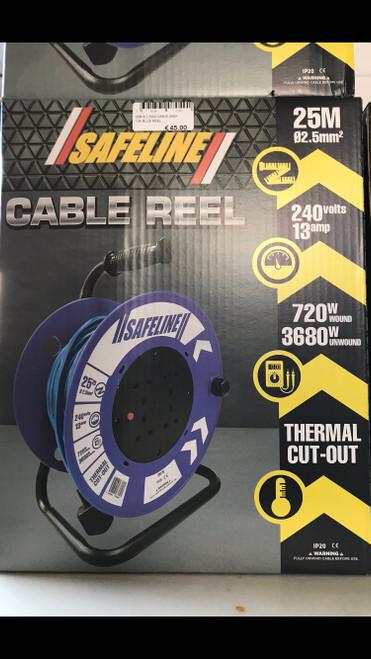 Safeline Blue Artic Cable Reel With 13 Amp Plug - 25Metre