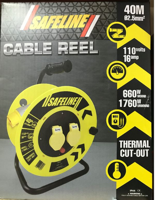 Safeline Yellow Artic Cable Reel With 16 Amp Plug, 110V - 40Metre