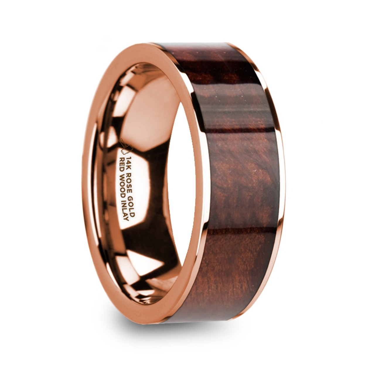 Mens Rose Gold Wedding Band.Morel Polished 14k Rose Gold Men S Wedding Band With Red Wood Inlay
