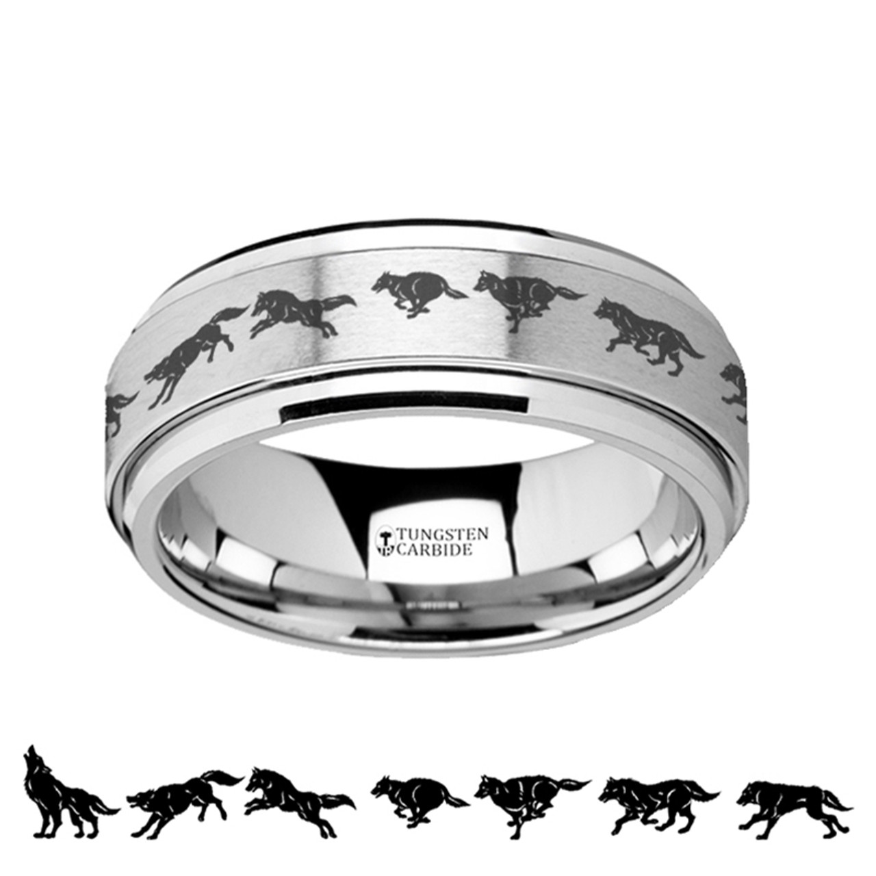 Ambrosia Spinning Running Wolf Engraved Tungsten Carbide Wedding Band
