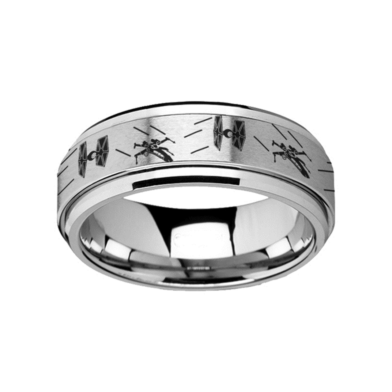 Star Spinning Tie Fighter X Wing Design Engraved Tungsten Carbide Wedding Band