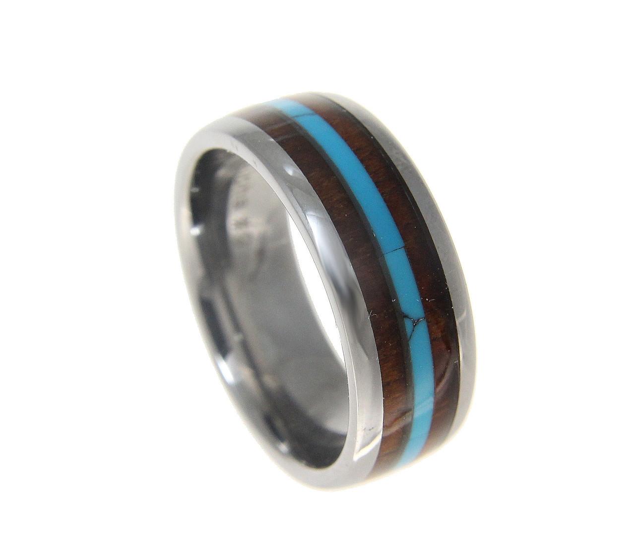 Hawaiian Koa Wood Inlaid Turquoise Center Tungsten Wedding Band: Koa Inlay Wedding Ring At Websimilar.org