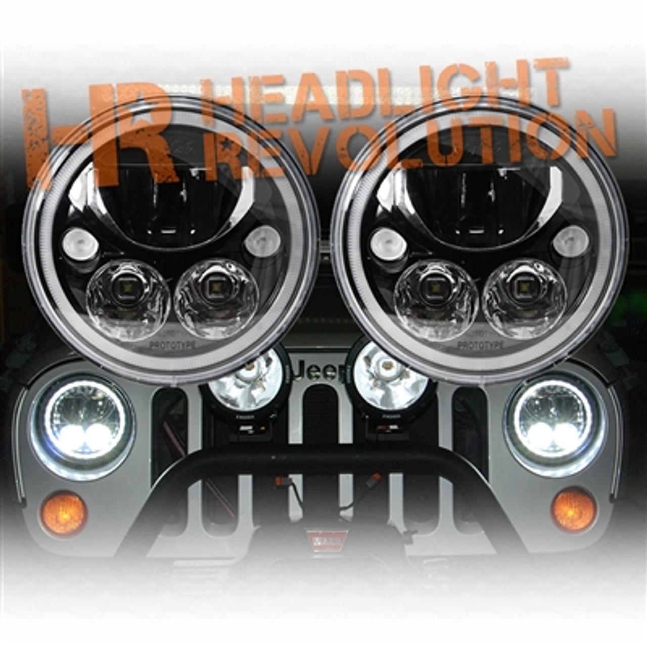 Jeep Jk Headlights >> Vision X Jeep Jk Headlights Pair Of 7 Black Chrome Round Vortex