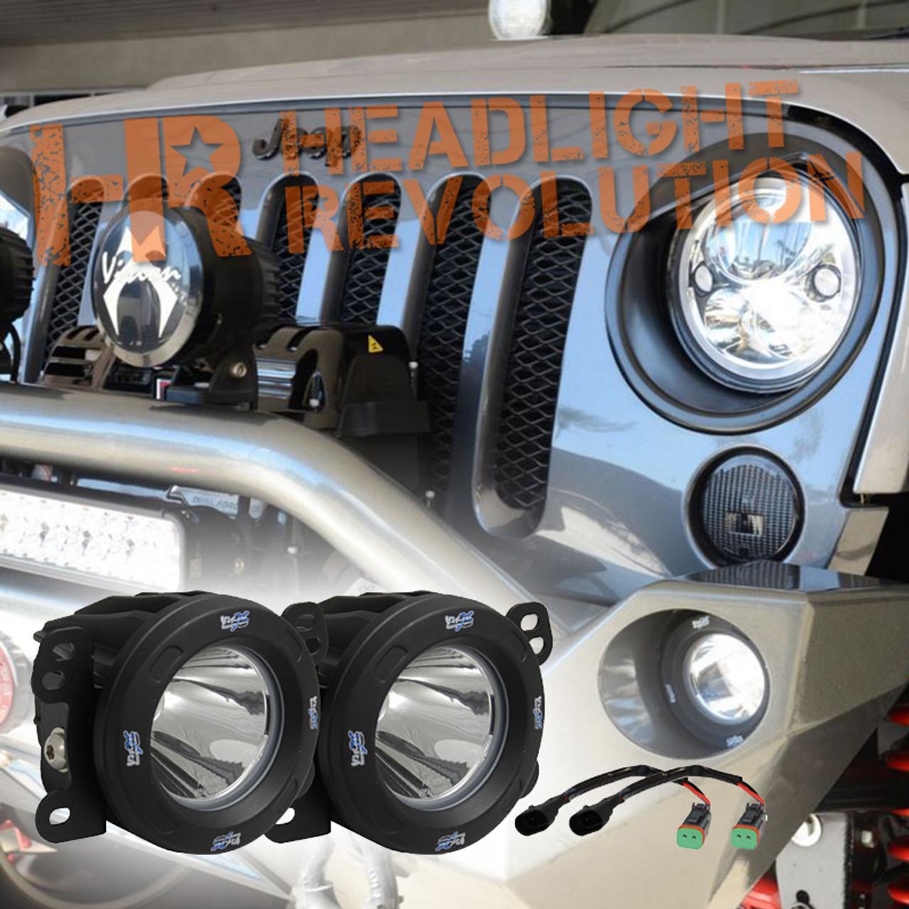 Vision X 07 09 Jeep Jk Fog Light Upgrade Kit With Optimus 20 Degree Led Lights