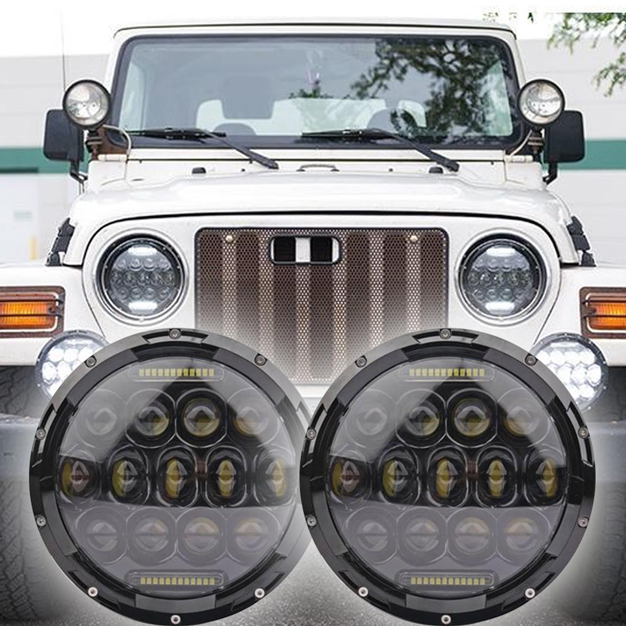 Jeep Wrangler Led Headlights >> 1996 2006 Jeep Wrangler Tj Led Headlight Kit Oracle 75w Black Projector Style