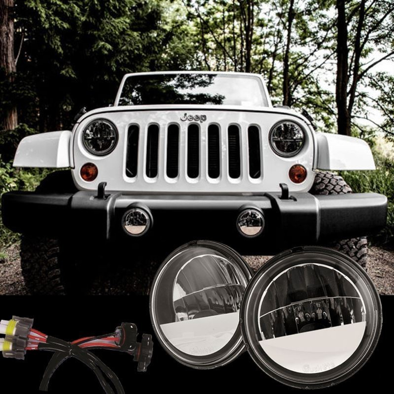 Jeep Wrangler Fog Lights >> 2007 2017 Jeep Wrangler Jk Led Fog Light Kit Truck Lite 80275