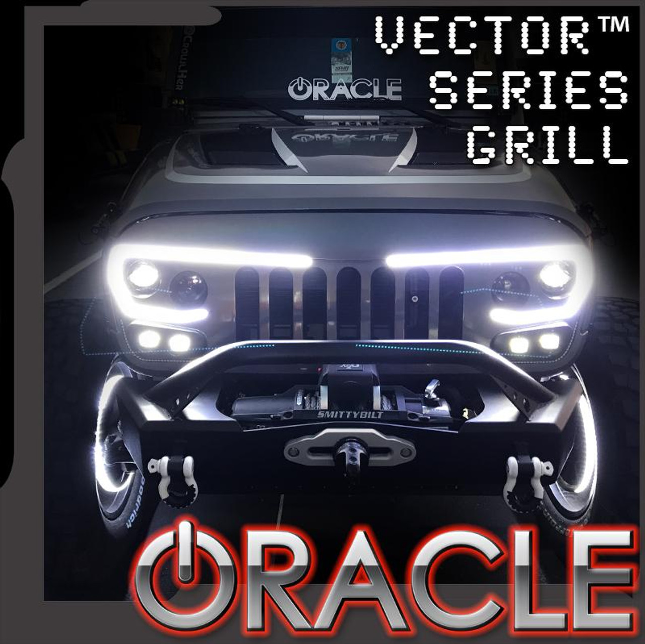 Jeep Jk Headlights >> Oracle Lighting Vector Series 2007 2017 Full Led Grill Jeep Wrangler Jk