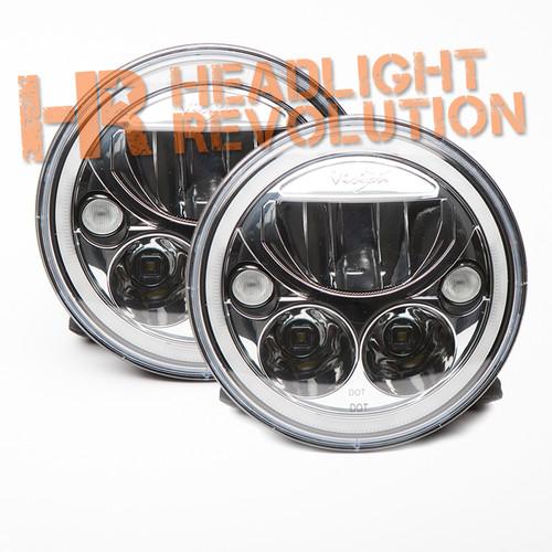 "Vision X Pair of 7"" Round Vortex LED Headlights - Chrome"