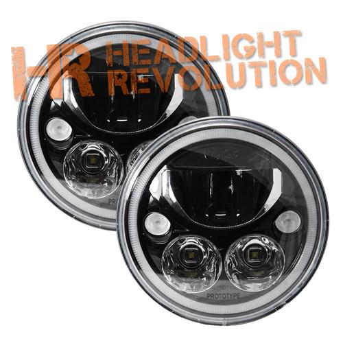 "Vision X Pair of 7"" Round Vortex LED Headlights - Black Chrome"